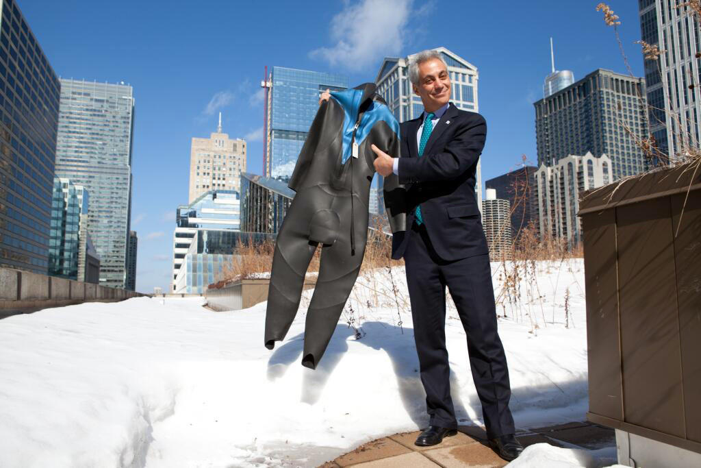 Twitter picture from @ChicagosMayor showing Chicago mayor Rahm Emanuel holding a wetsuit. Hey @jimmyfallon, got this for you. See, I told you, the City of Big Shoulders has your back. -MRE