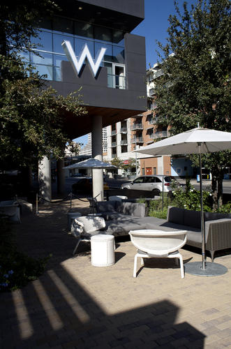 Outdoor patio seating is seen at the W Hotel in Austin, Texas.