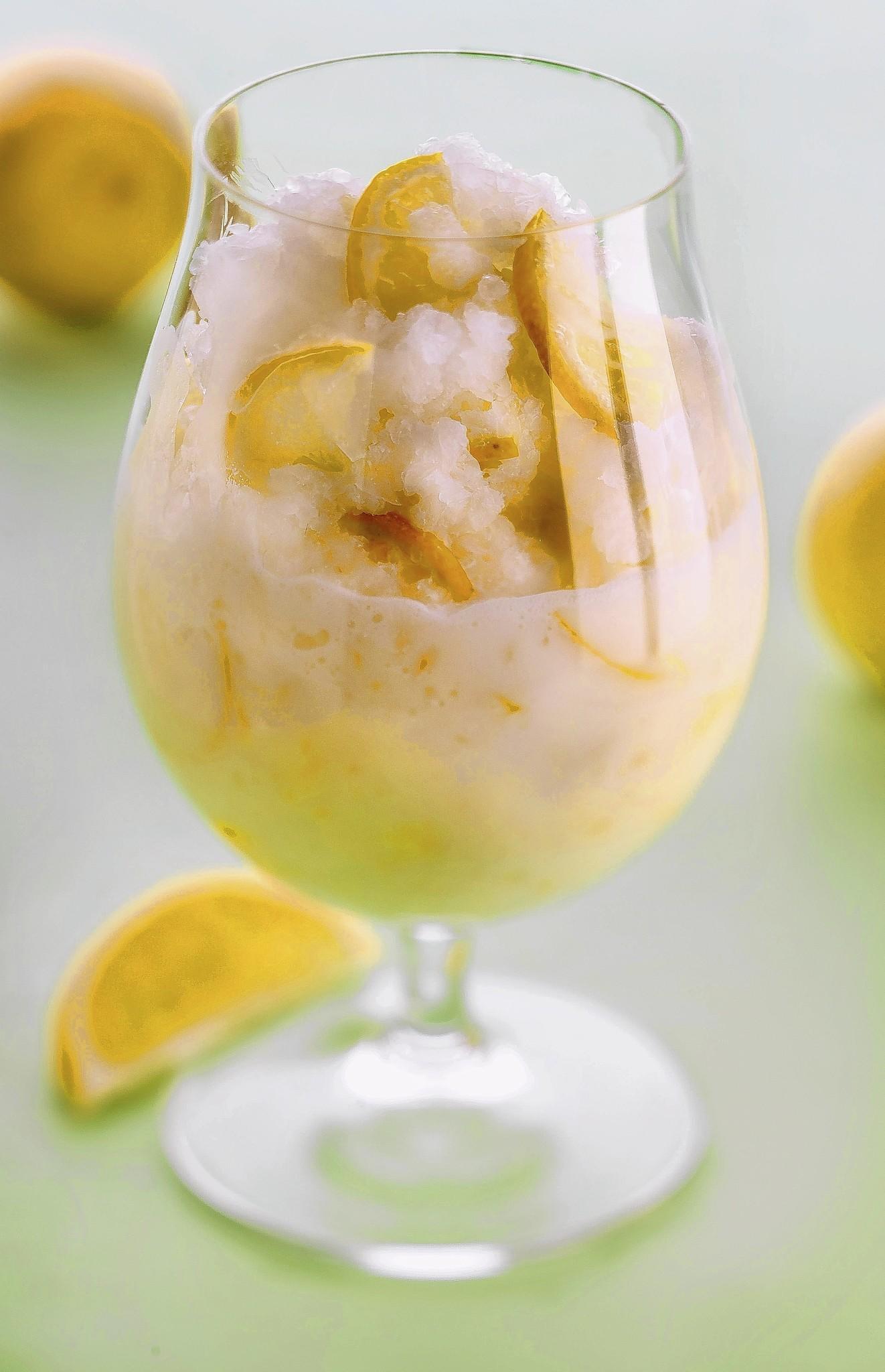 Finished lemon slush recipe.