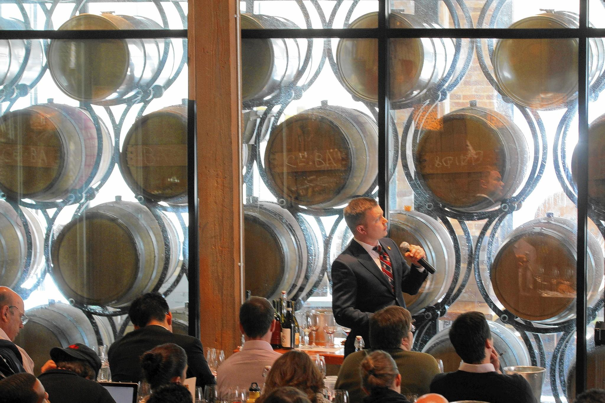 Master Sommelier Jesse Becker lectures at a Master Sommelier course/ exam at City Winery, Chicago.