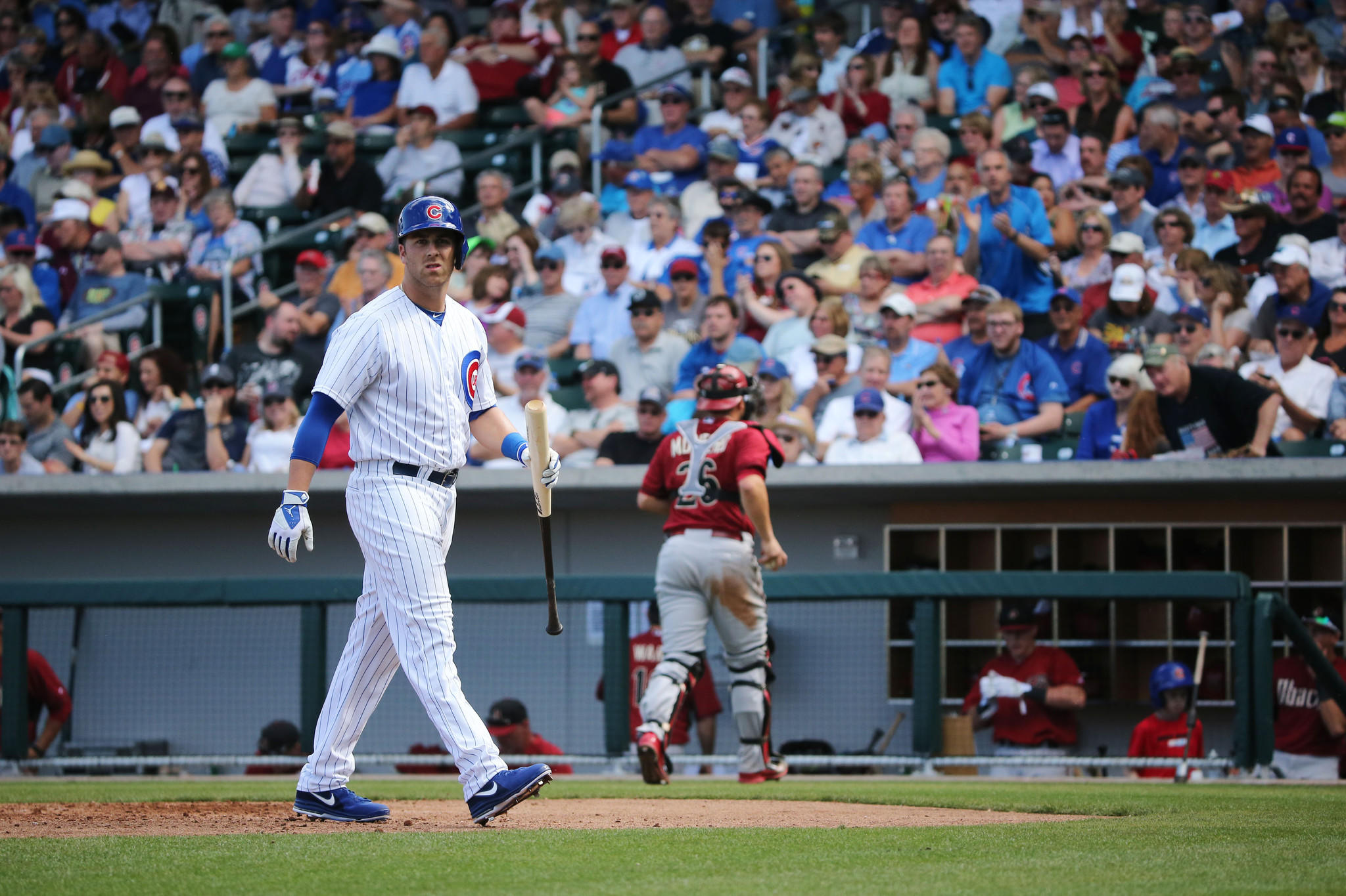 A disappointed Mike Olt returns to the dugout after striking out Thursday.