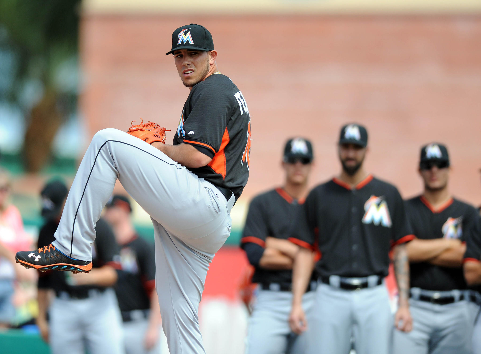 Miami Marlins starting pitcher Jose Fernandez (16) warms up in the bullpen before a spring training game against the St. Louis Cardinals at Roger Dean Stadium.