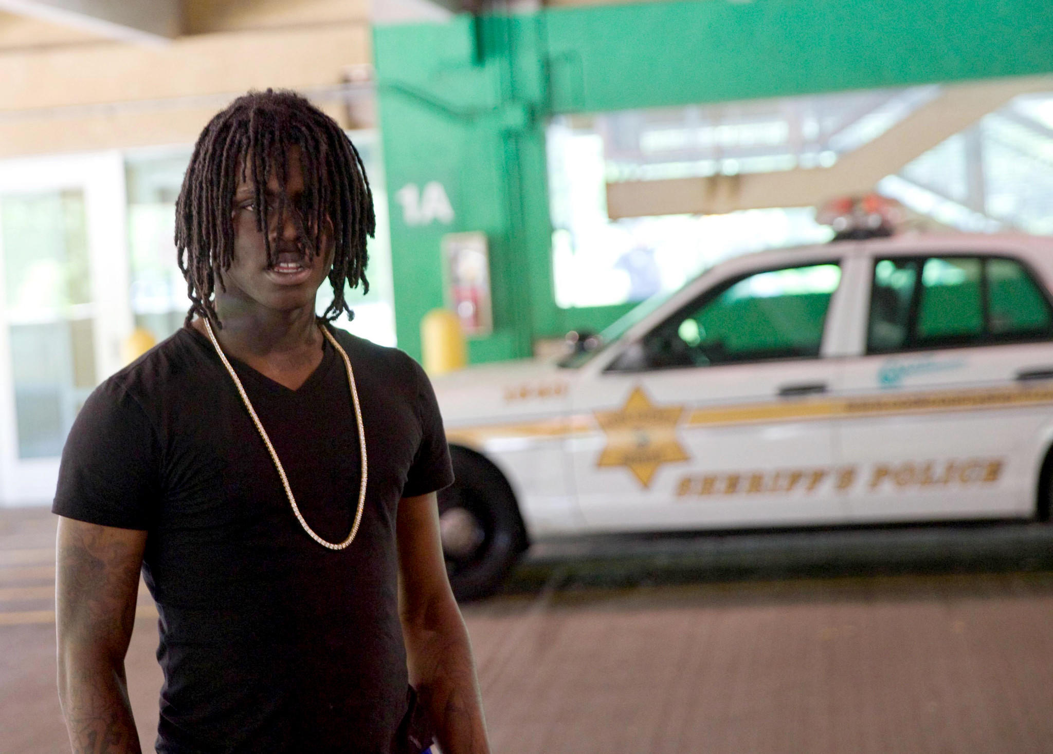 Rapper Chief Keef leaves the Cook County Circuit Court in Skokie on Monday.