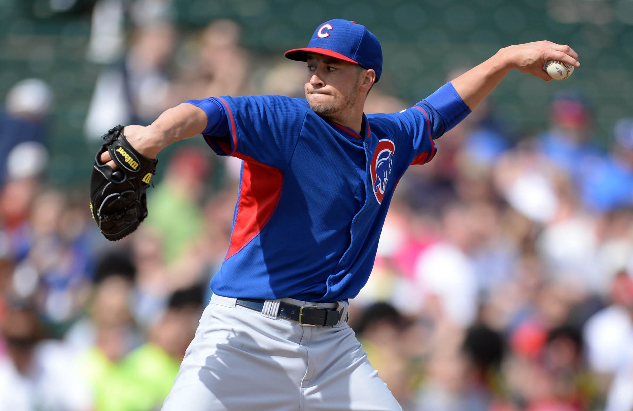 Chicago Cubs starting pitcher Chris Rusin during Friday's game.