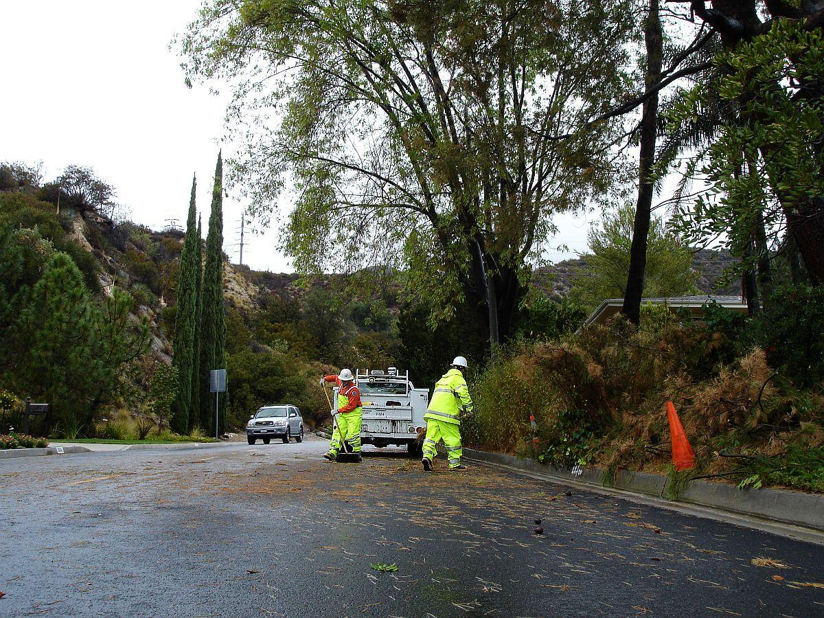 La Cañada Public Works employees Richard Lopez, left, and Hugo Leon remove fallen tree debris on Haskell Street Friday morning to keep storm drains clear amid heavy rainstorms predicted to continue through Sunday.