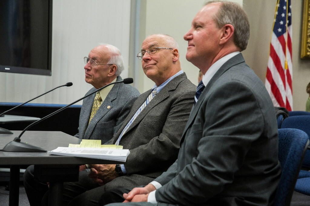 Ness mess: Three former IRS agents, Bob Fuesel, left, Bill Desmond and Bill Paulin testify on Eliot Ness' legacy at the City Council Public Safety Committee meeting in Chicago.