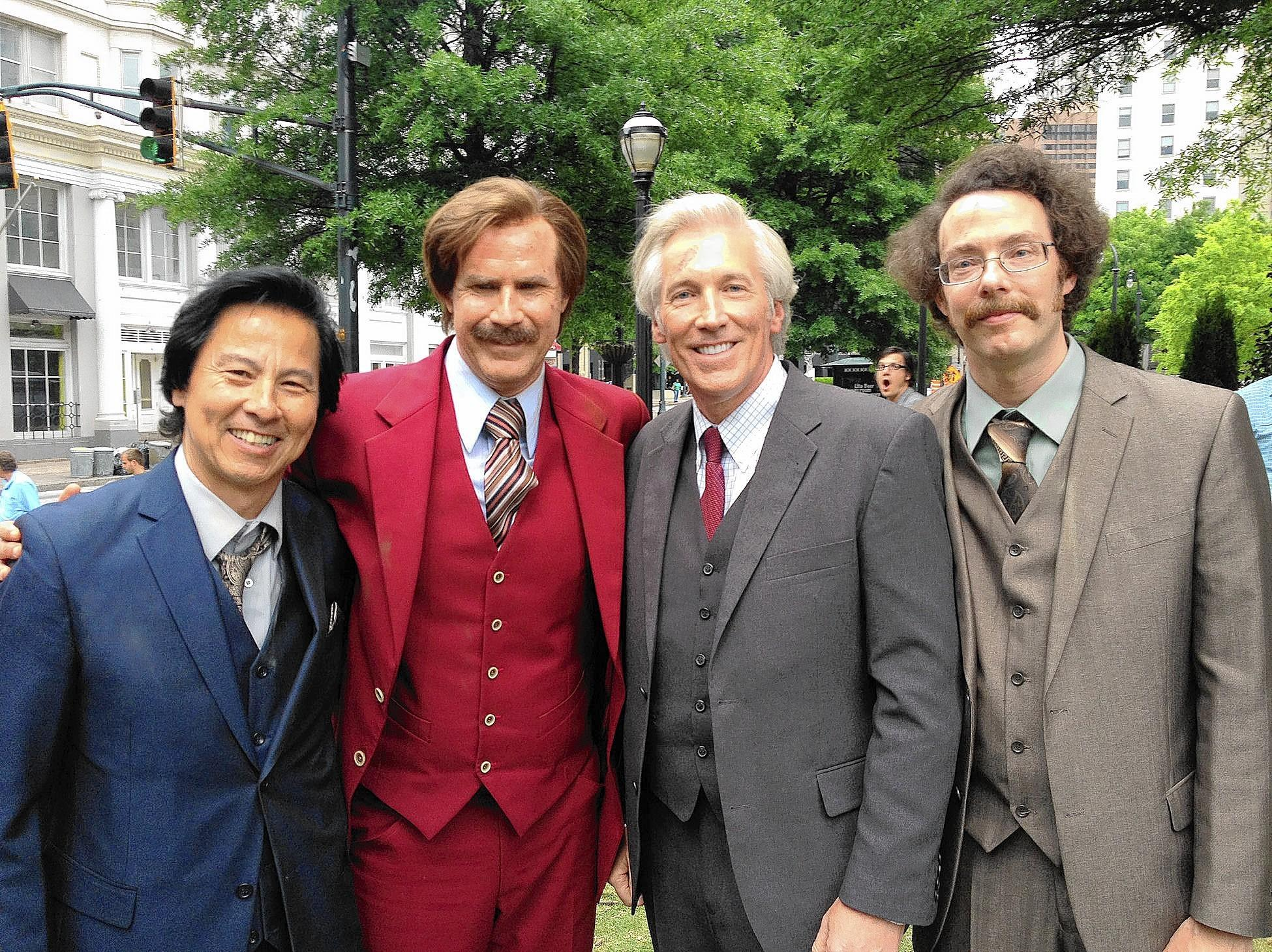 A new, R-rated, super-sized version of 'Anchorman 2,' starring Paul Chappell (left), Will Ferrell, Allentown native Fred Galle and Patrick Williams, is in theaters for a week.