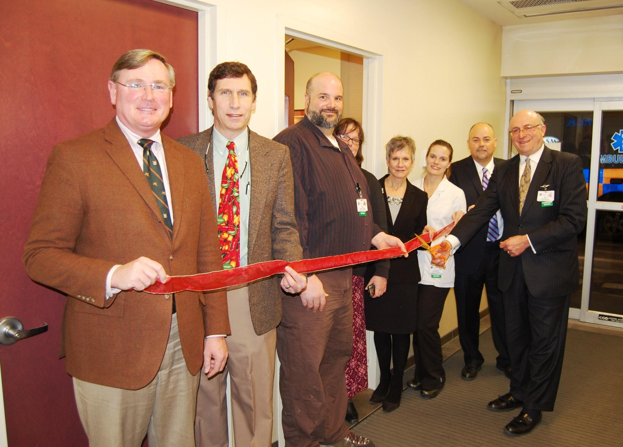 From left to right: Patrick Mahon, chairman, JMMC Board of Directors; Neil Moynihan, M.D., president, JMH Medical Staff; Paul Wentworth, EMS coordinator; Beth Van Alstyne, senior director, Nursing; Patricia Jagoe, assistant vice president, Patient Care Services; Jennifer Moskal, Emergency Department manager; David Herr, M.D., chairman, Department of Emergency Medicine; and Stuart E. Rosenberg, president & CEO, JMMC.