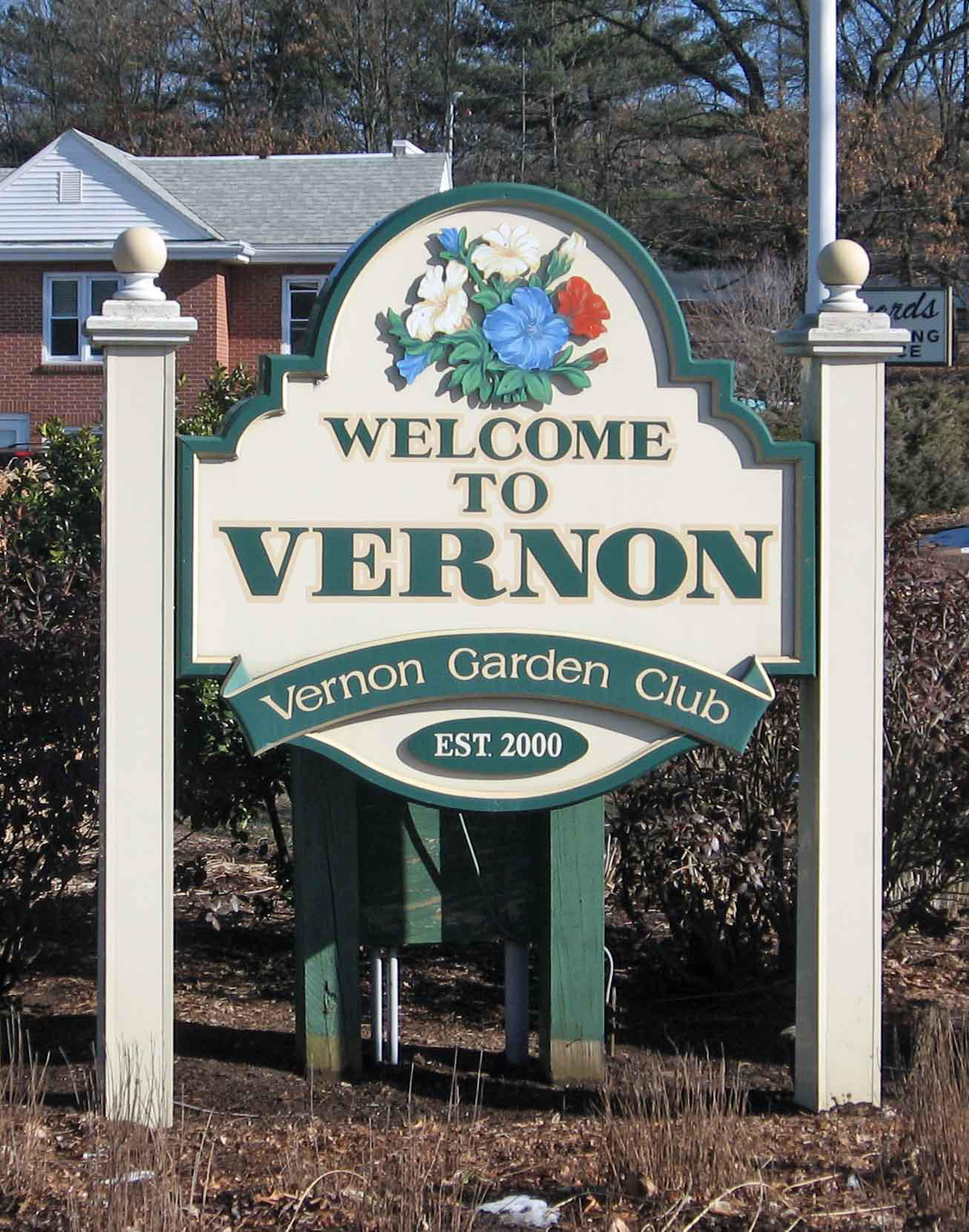 Vernon welcome garden and sign; maintained by the Vernon Garden Club.