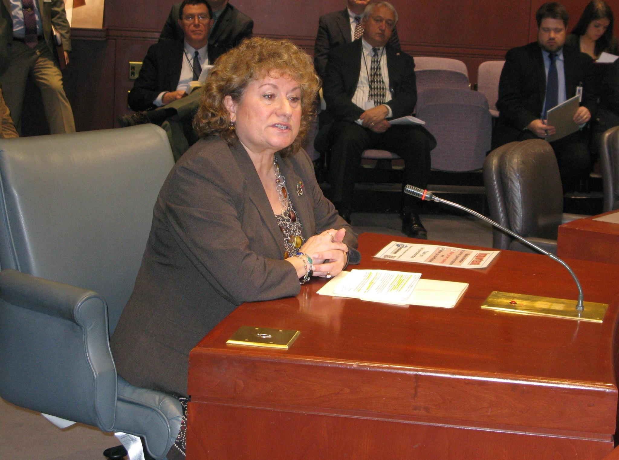 Rep. Claire Janowski testifies before the Legislature's Committee on Aging in support of her legislation to restore the state's Rental Rebate Program.