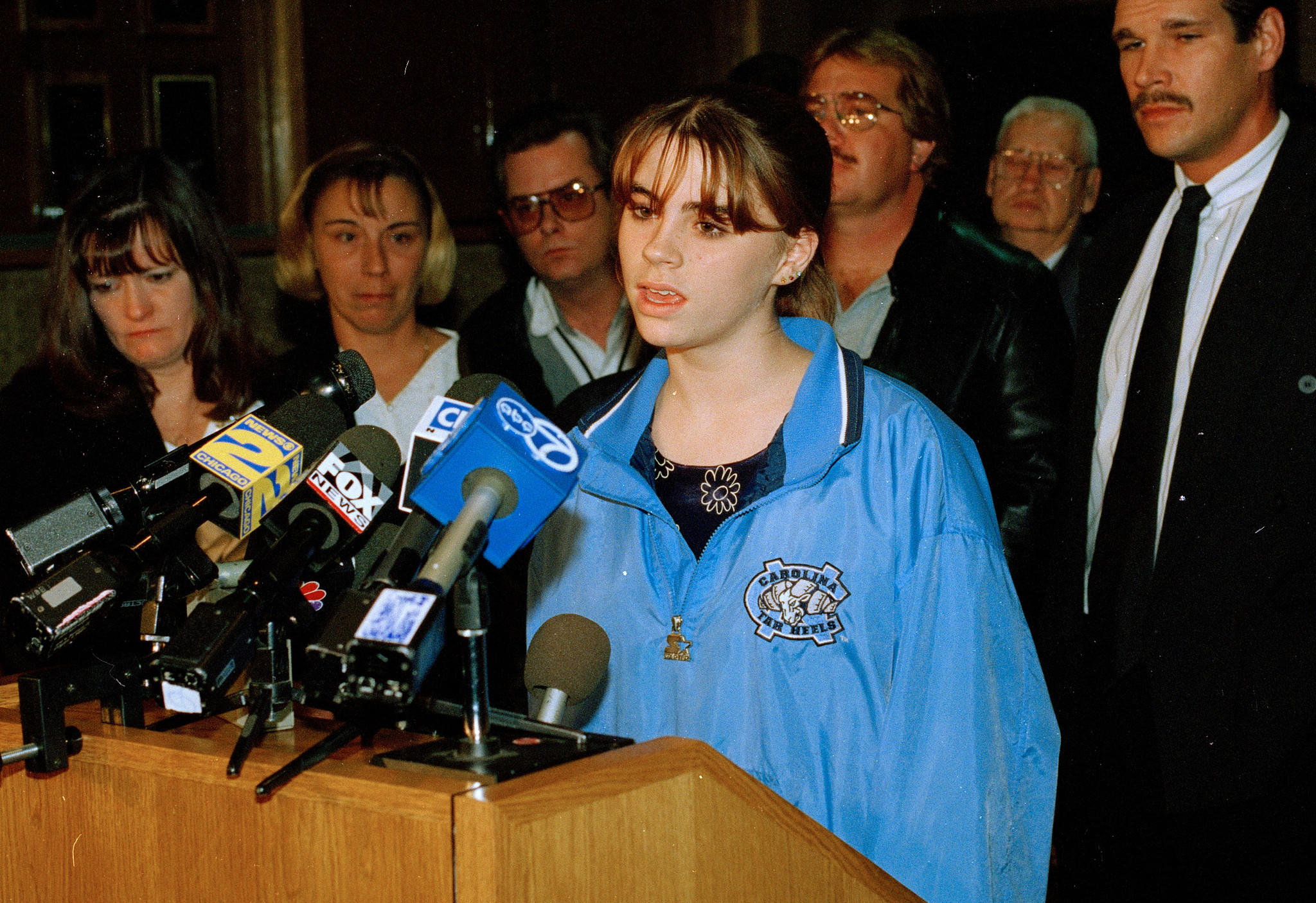 Sarah Sanaghan, 13, talks to reporters on Nov. 4, 1997 after a Will County jury convicted Richard Devon in the hit-and-run that injured her and killed her twin sister, Cari, Courtney Lauer, and Sheena Acres.