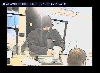 Surveillance photo of the suspect in a robbery of the Webster Bank on Helen Street in Hamden Friday afternoon.