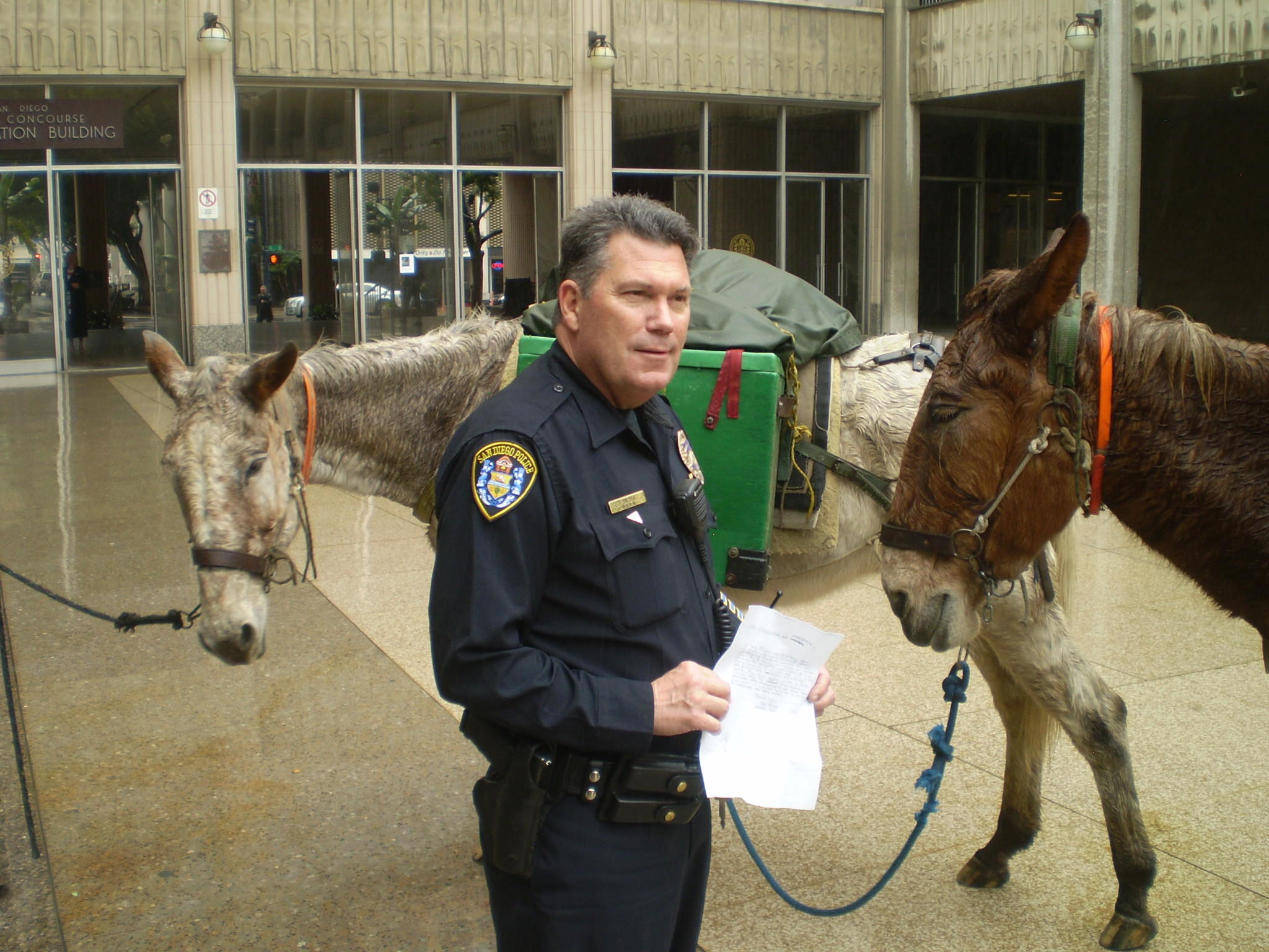 "Police Officer Clinton Castle accepts an ""emergency declaration"" presented to him by John Sears and his two mules in the plaza at San Diego City Hall. The declaration asked city officials to build more mule trails."