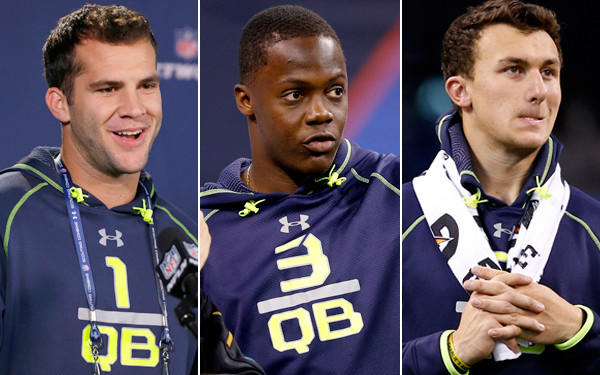 Quarterbacks Blake Bortles (1), Teddy Bridgewater (3) and Johnny Manziel are expected to be early first-round selections in the upcoming NFL draft.