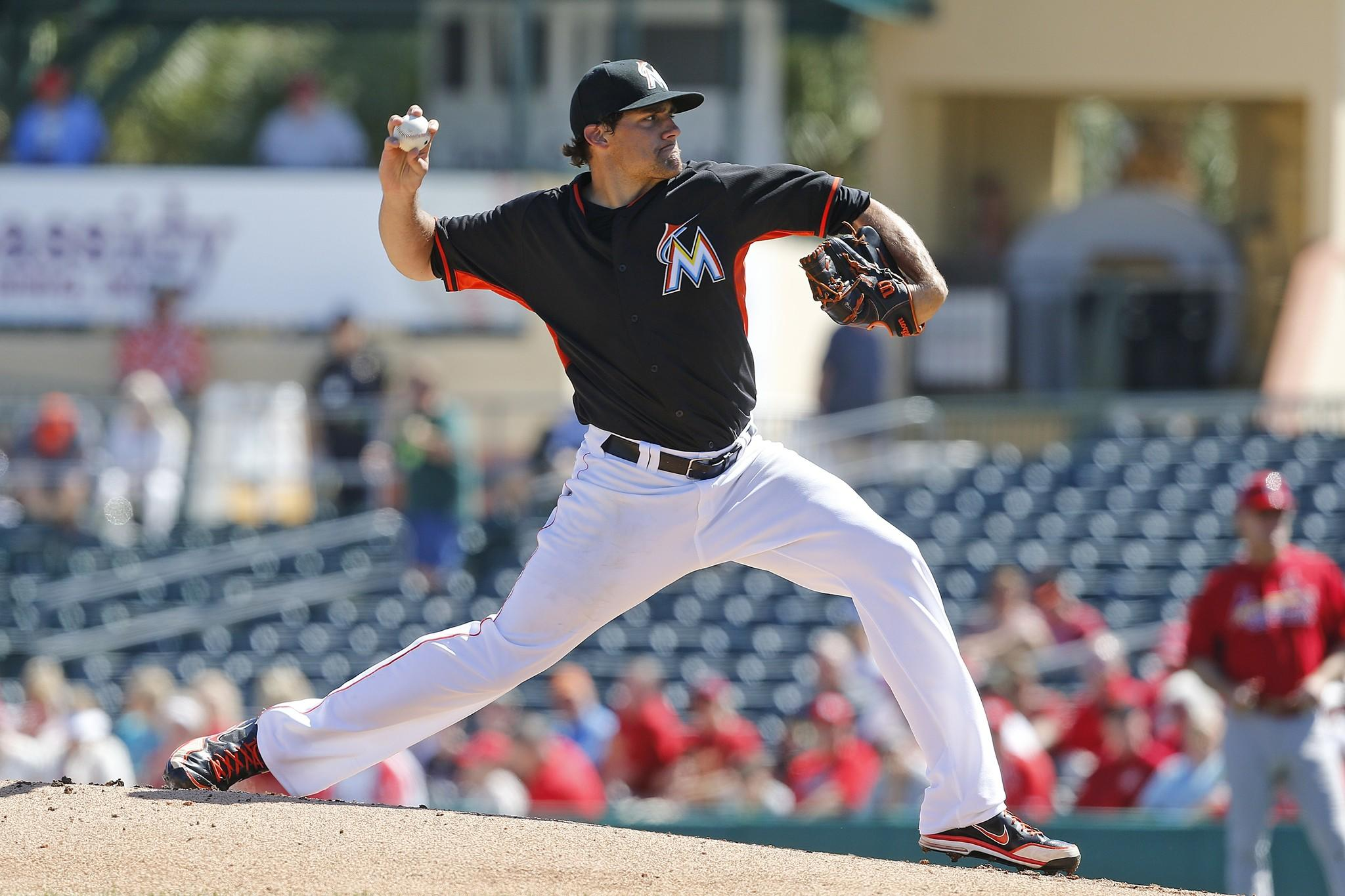 Nathan Eovaldi of the Miami Marlins makes his first Grapefruit League start Saturday at Roger Dean Stadium against the St. Louis Cardinals.