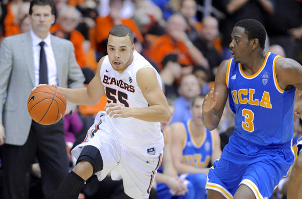 Oregon State guard Roberto Nelson, the leading scorer in the Pac-12 Conference, drives against UCLA guard Jordan Adams during a game earlier this season in Corvallis.