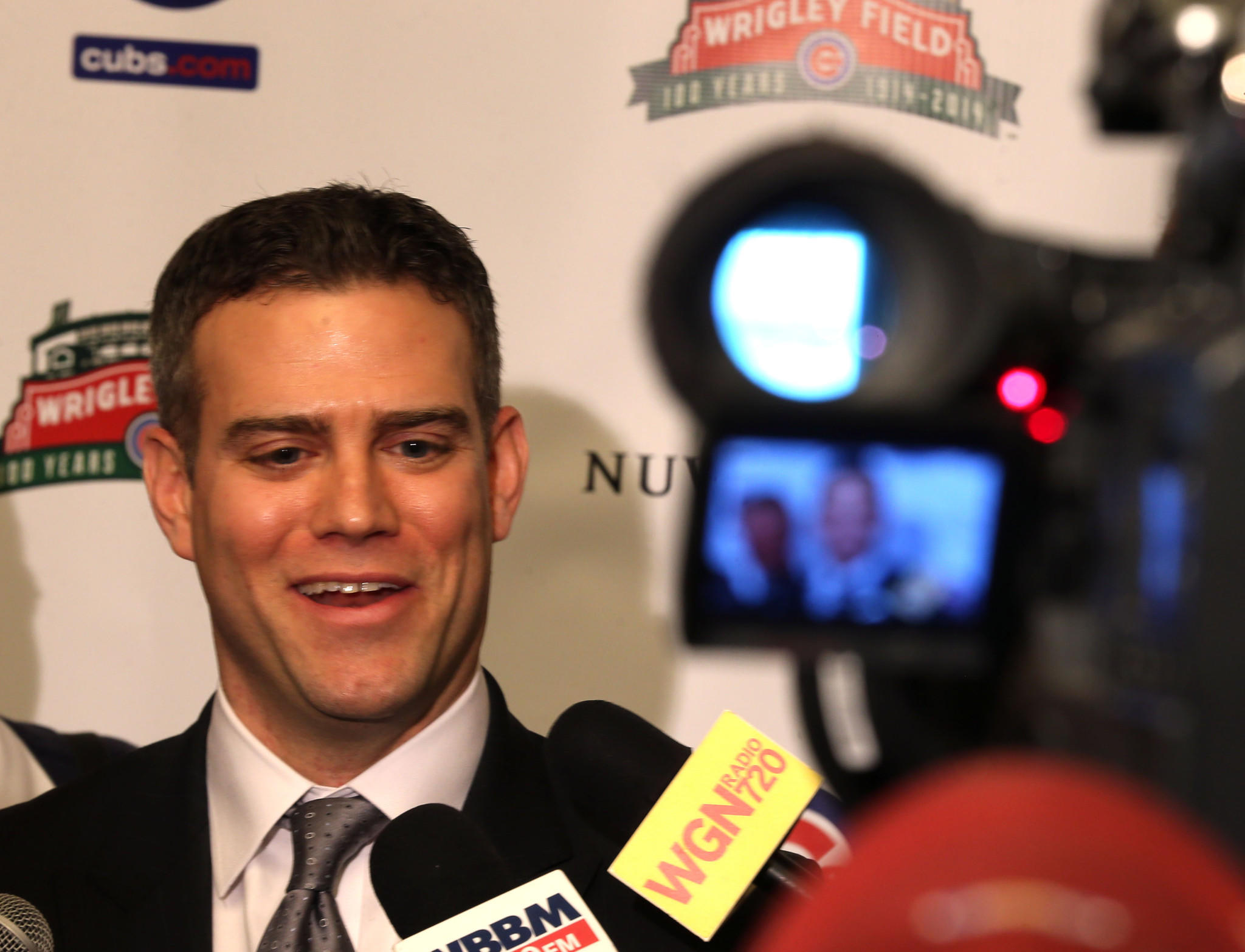 Theo Epstein before the cameras.