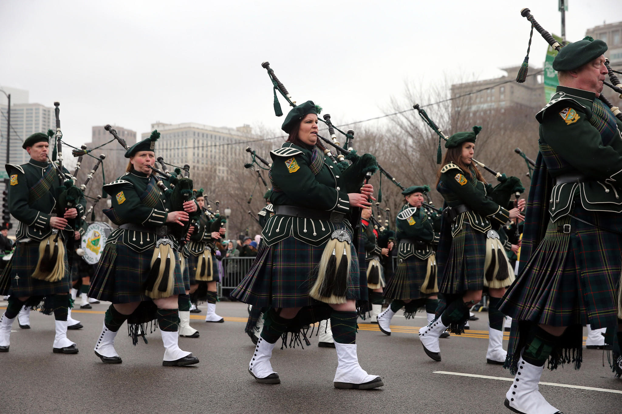 Bagpipers play in Chicago's St. Patrick's Day celebration in 2013.