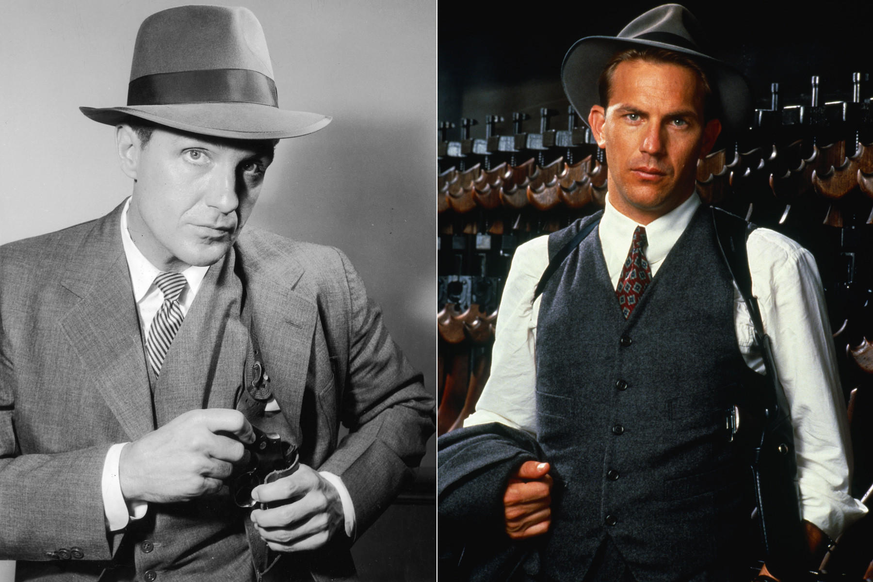 "Robert Stack, left, played Eliot Ness from 1959 to 1963 in TV's ""The Untouchables."" And Kevin Costner played the legendary crime fighter in the 1987 film of the same name."