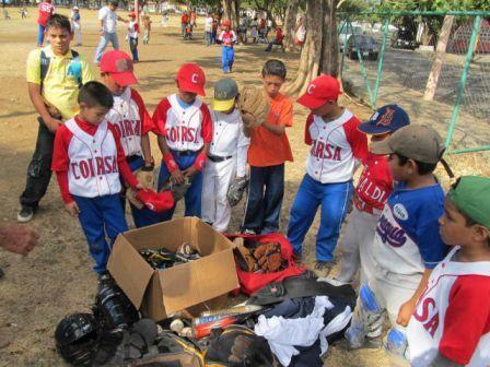 Distributing baseball equipment in Nicaragua.