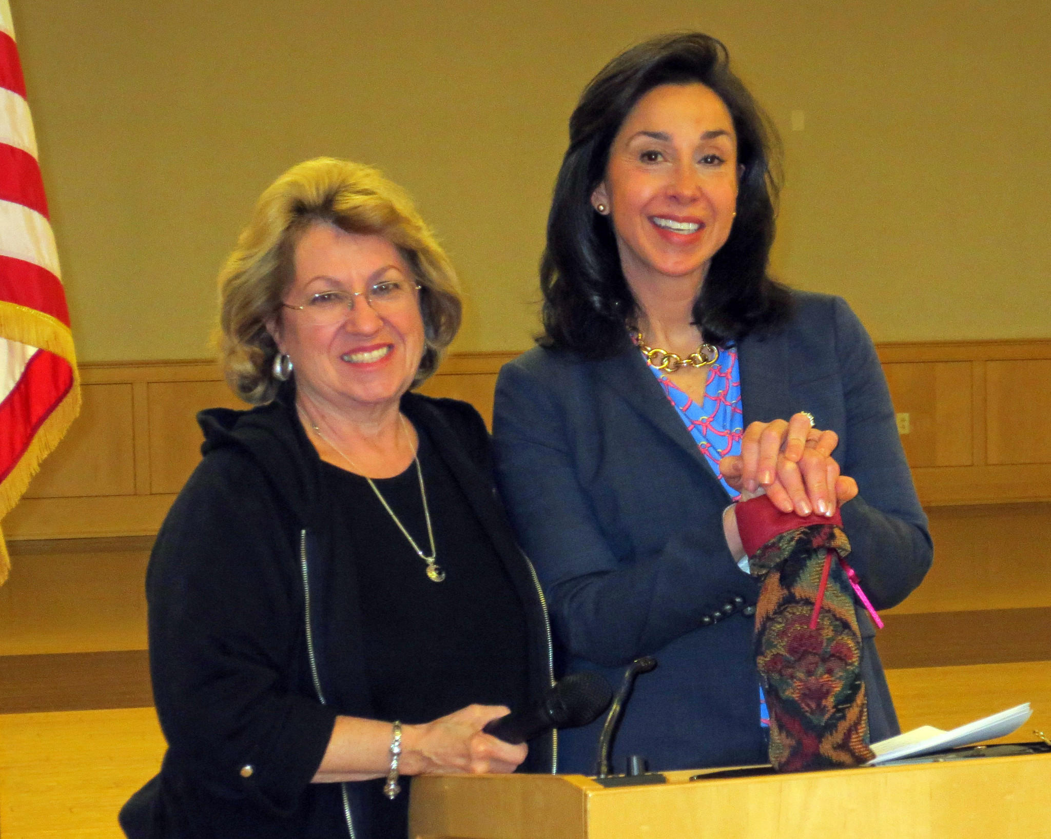 From left to right: Jenny Czyrko, Farmington Valley Woman's Club president; and Evelyn Daly, probate judge, Farmington-Burlington Probate Court.