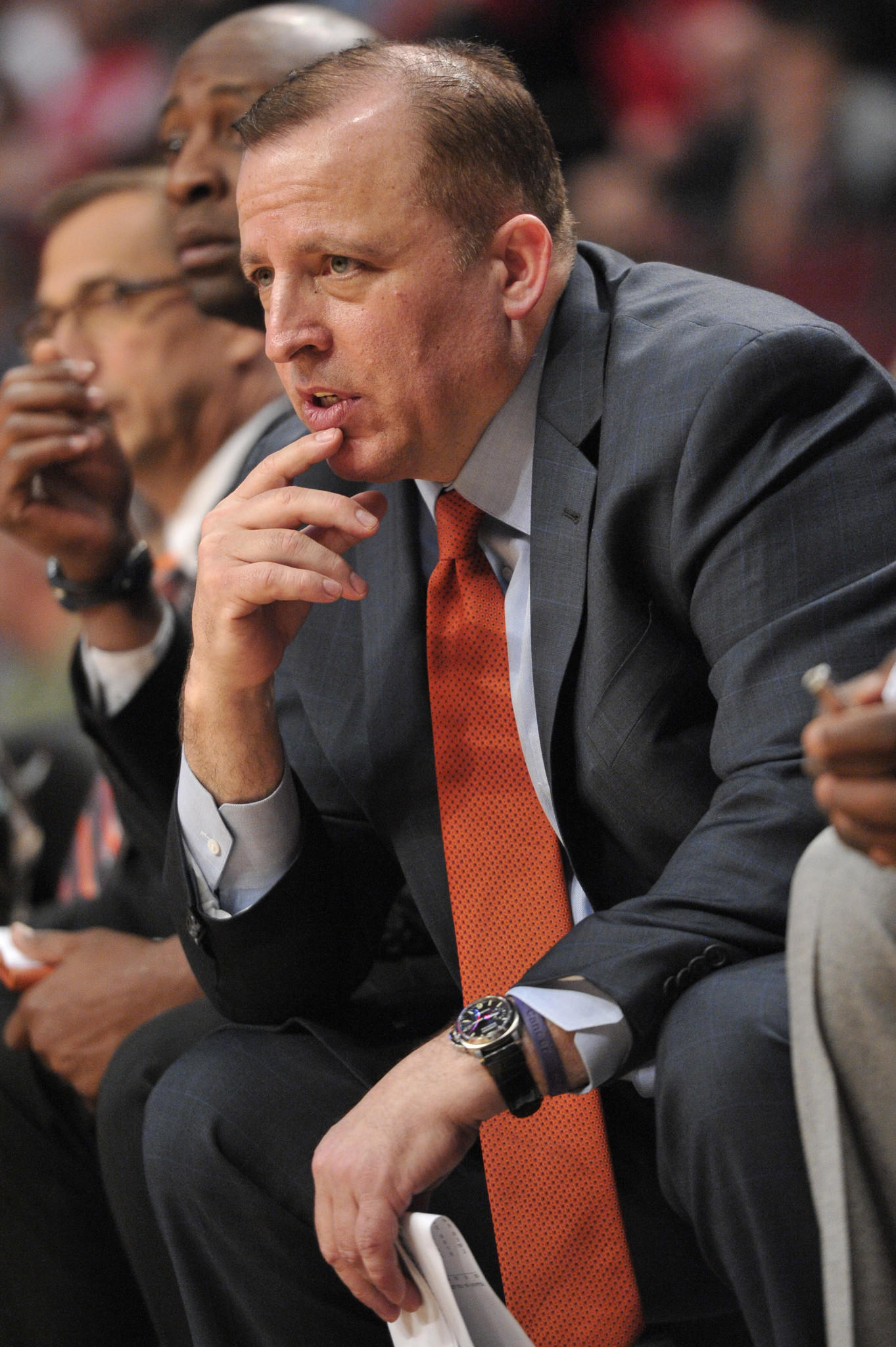 Chicago Bulls head coach Tom Thibodeau during the second half against the Golden State Warriors at the United Center. The Bulls beat the Warriors 103-83.