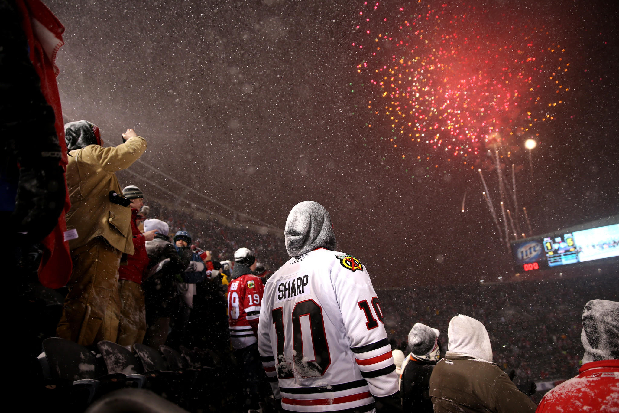 Fireworks are set off after a Chicago Blackhawks victory over the Pittsburgh Penguins.