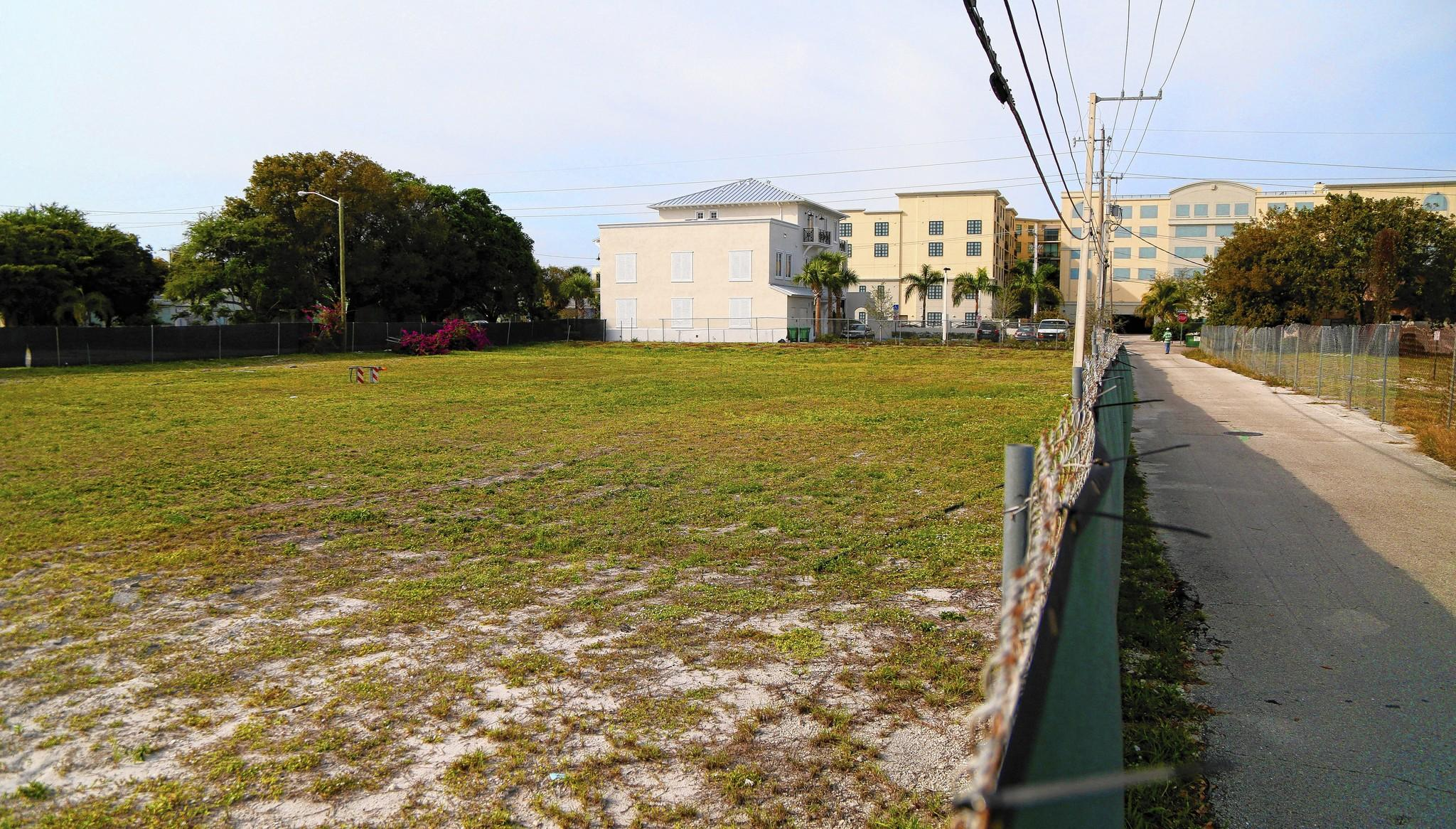 A vacant lot for proposed project site in Delray Beach. East side of SE 1st Avenue, south of SE 1st Street at 111 SE 1st Avenue. Development in Delray is taking a shift off the main drag of Atlantic Avenue and into the side streets.