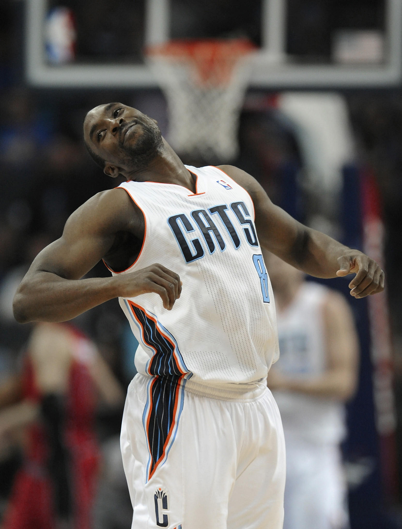 The Charlotte Bobcats' Ben Gordon spins around and smiles after hitting a 3-point basket near the two minute mark of the fourth quarter against the Toronto Raptors last season.