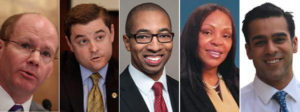 From left: Sen. Don Harmon, state Rep. Chris Nybo, House candidate Christian Mitchell, House candidate Pamela Reaves-Harris and House candidate Mo Khan.