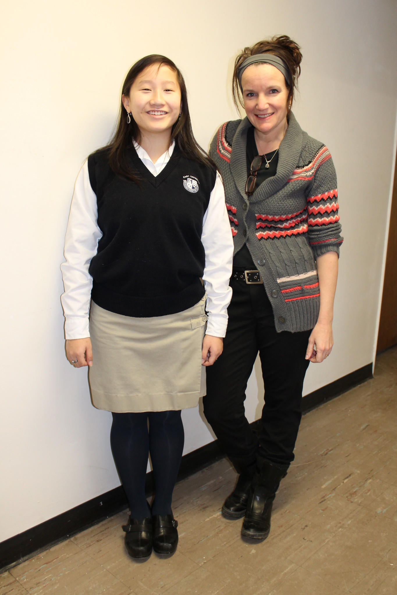 From left to right: East Catholic Junior Grace Mazzarella and ECHS Art Teacher Judy Knight Landry '85.