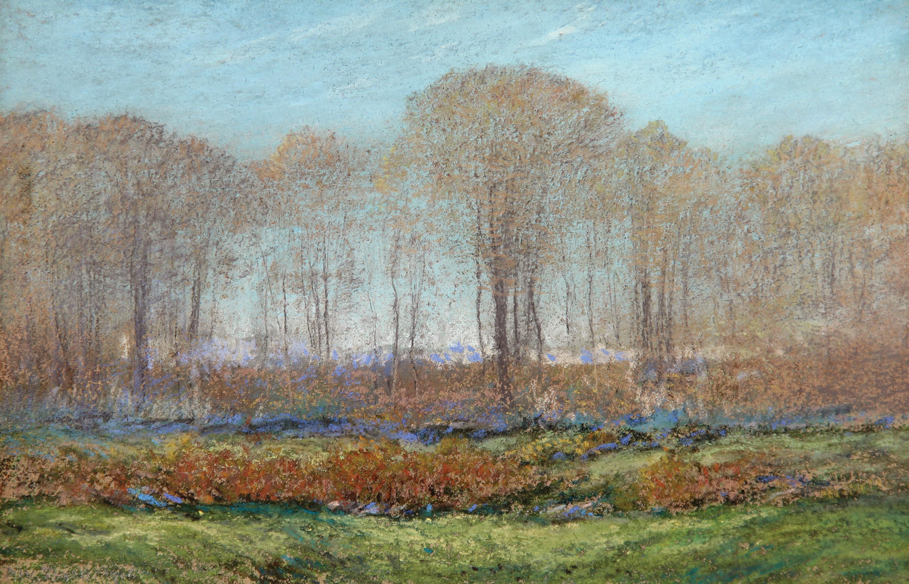 "Dwight William Tryon (1849 - 1925) Early Spring Morning signed lower left, signed, titled and dated 1916 verso pastel on paper 8"" x 12""."