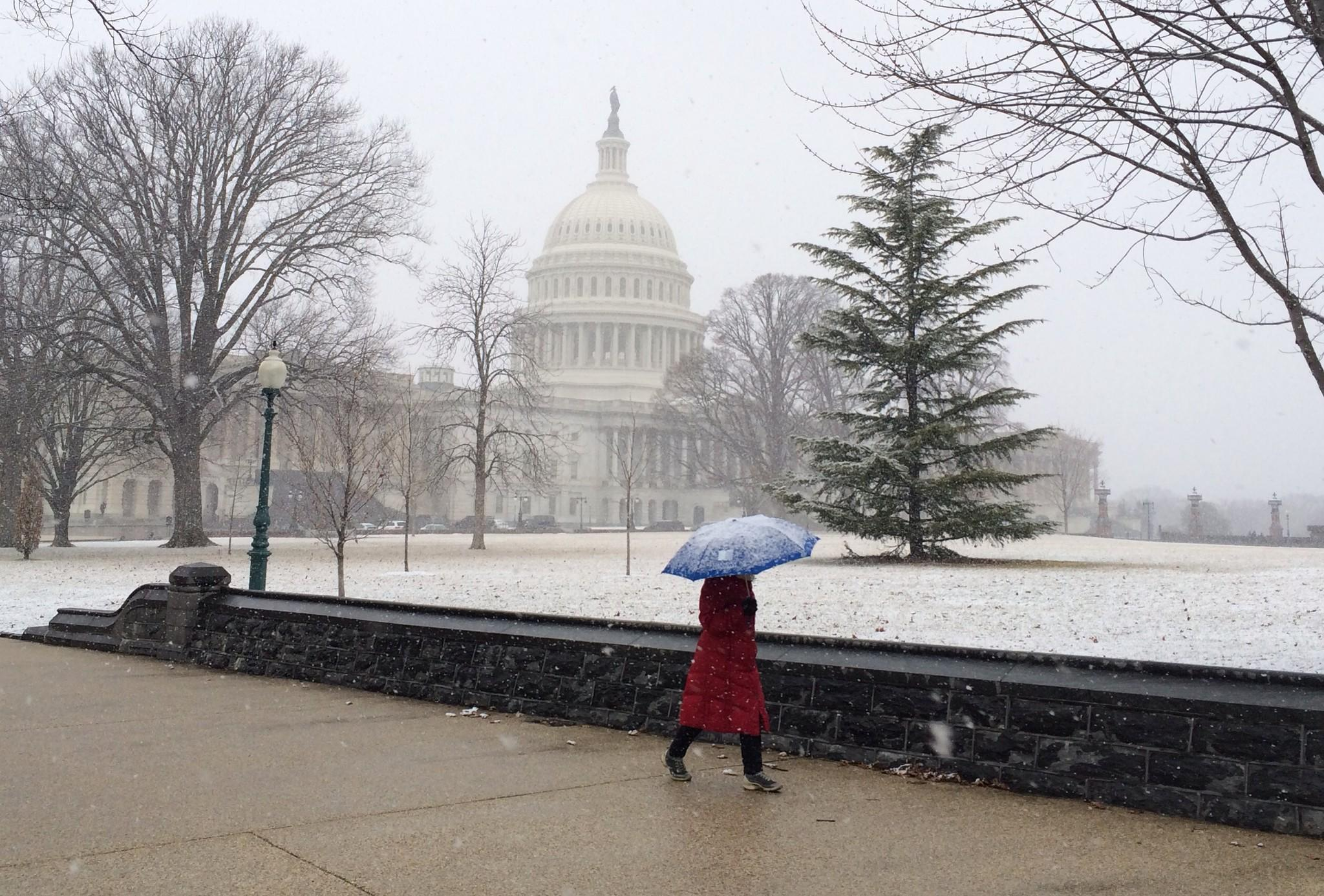 A woman walks in the snow past the US Capitol on February 25, 2014 in Washington.