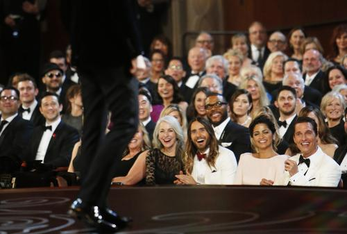 """One section of the front row is packed with stars from the """"Dallas Buyers Club,"""" including Jared Leto and his mother and Matthew McConaughey and his wife Camila Alves."""