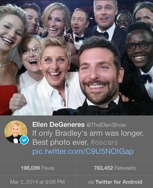 A photo Ellen DeGeneres tweeted live from the Oscars on Sunday night.