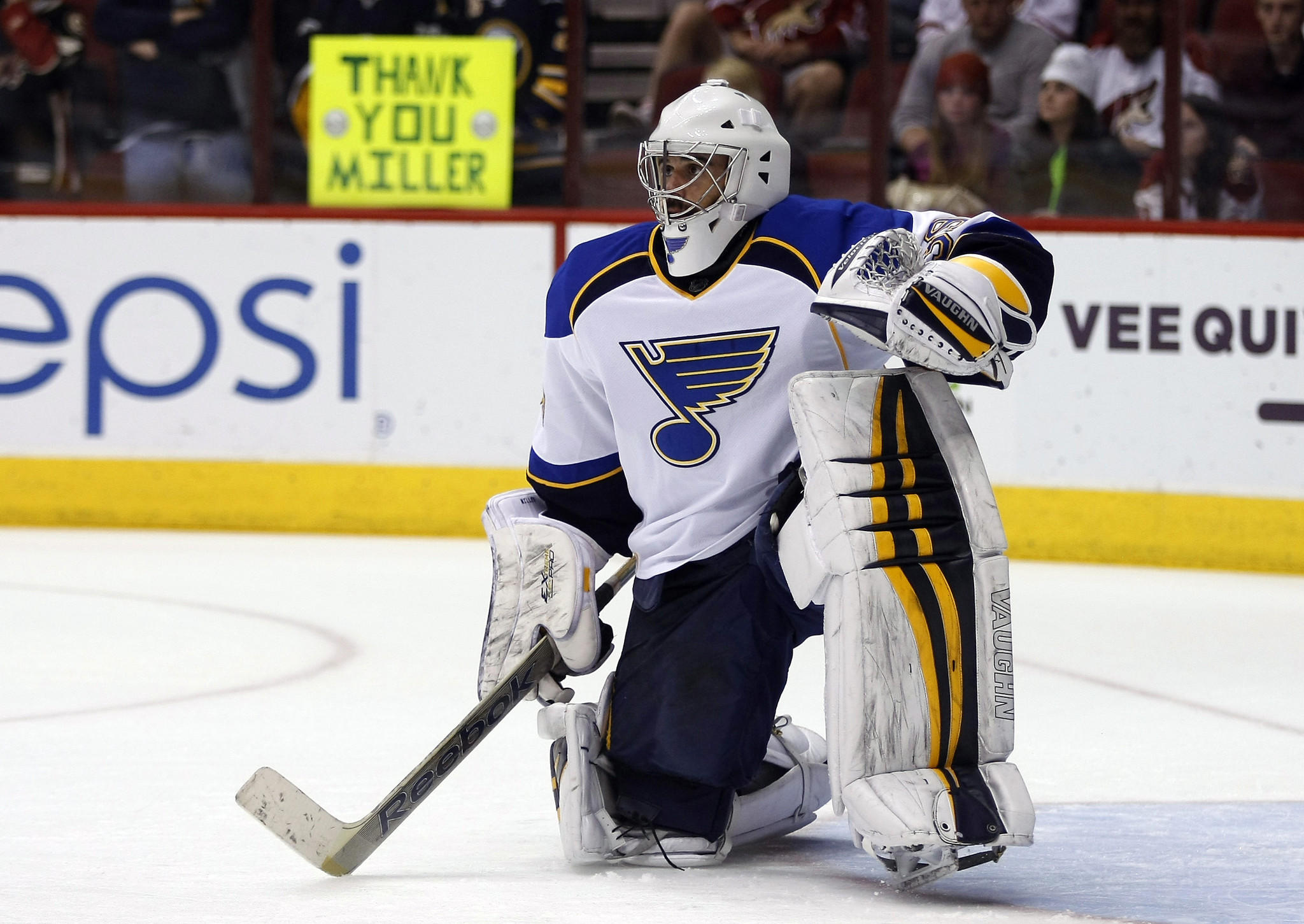 Blues goalie Ryan Miller warms up before the game against the Coyotes at Jobing.com Arena.