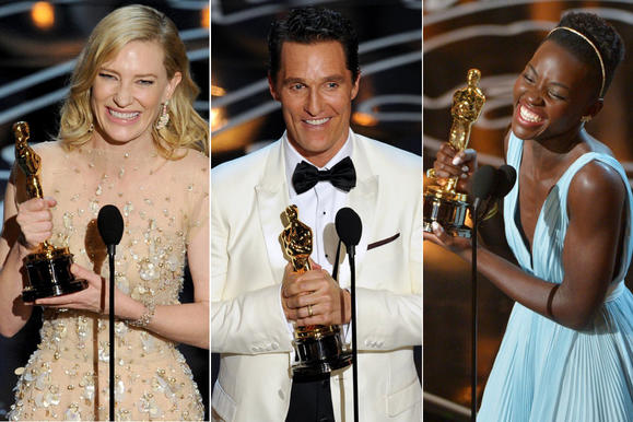 """Cate Blachett, Matthew McConaughey, Lupita Nyong'o and more took home Oscar statuettes at the 86th Academy Awards held at the Dolby Theatre in Hollywood. The glitzy event, hosted by talk show host Ellen DeGeneres, included musical performances and a big win for """"12 Years a Slave,"""" which took home best picture. Here's a look at some highlights from the show."""