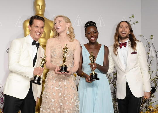 (L-R) Actors Matthew McConaughey winner of Best Performance by an Actor in a Leading Role, Cate Blanchett winner of Best Performance by an Actress in a Leading Role, Lupita Nyong'o winner of Best Performance by an Actress in a Supporting Role and Jared Leto winner of Best Performance by an Actor in a Supporting Role pose in the press room during the Oscars at on March 2 in Hollywood, California.