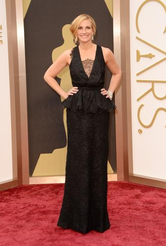 Julia Roberts wears Givenchy with a black lace inset.
