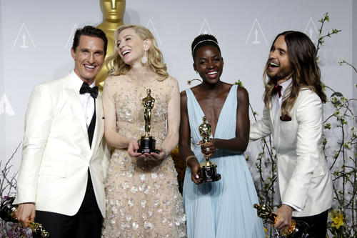 From left, Matthew McConaughey, Cate Blanchett, Lupita Nyong'o and Jared Leto with their Oscars for the four acting categories.