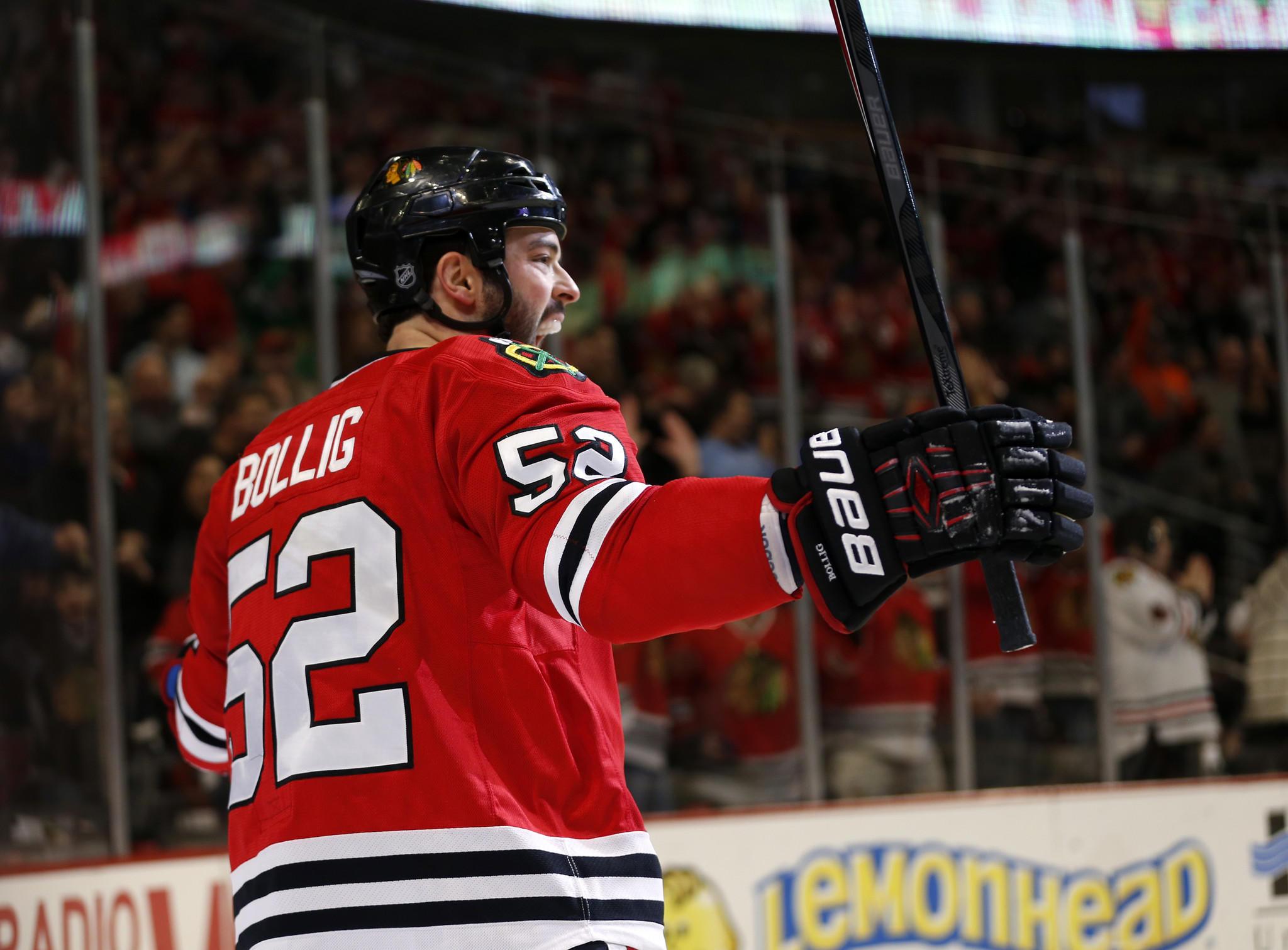 Brandon Bollig celebrates a goal.