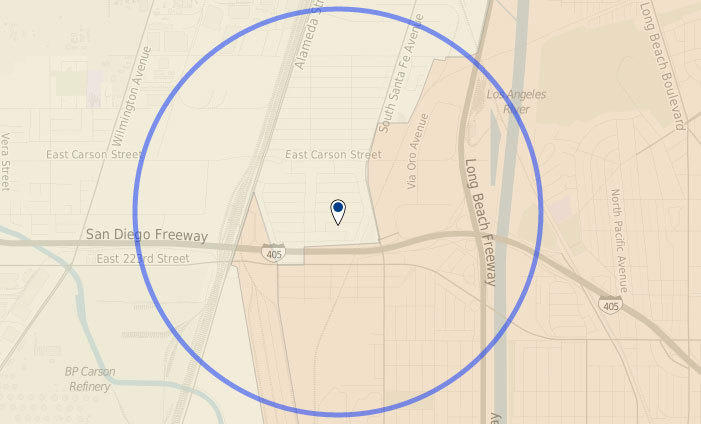 Approximate location where a man was fatally shot outside a party in Carson.