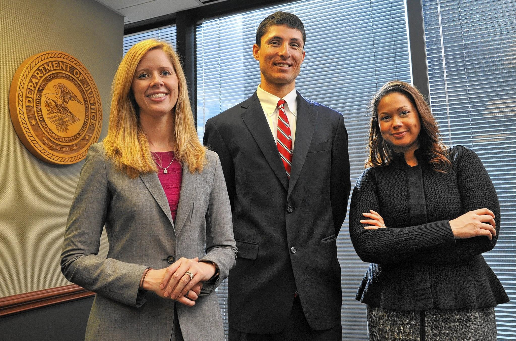 "Kelly Hayes (left), Peter ""P.J."" Martinez, and Jakarra Jones, were hired as assistant U.S. attorneys in 2012 and 2013."