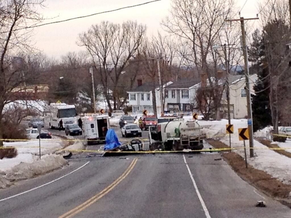 The scene of a fatal crash on Silver Lane in East Hartford.