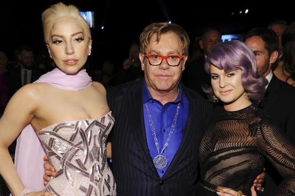 Lady Gaga, left, Elton John and Kelly Osbourne.