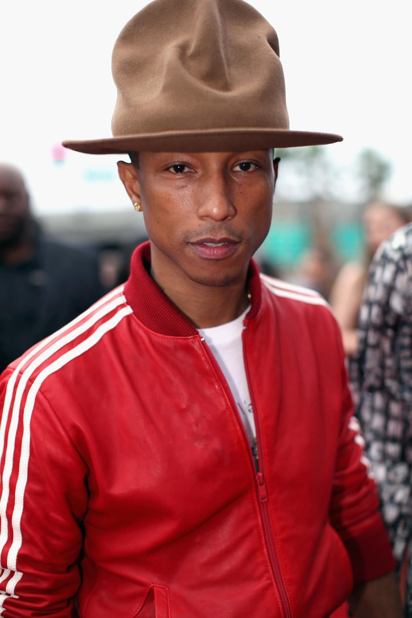 Pharrell Williams attends the 56th Grammy Awards.