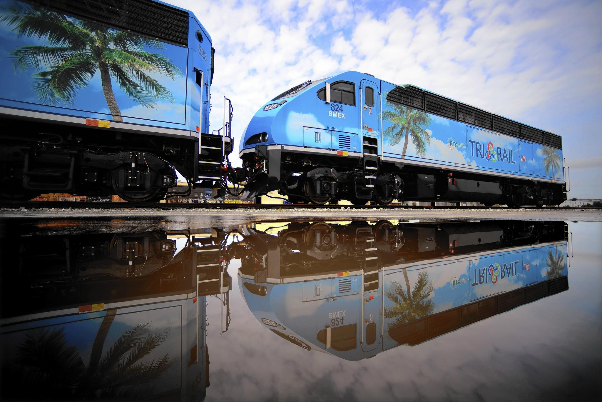Two of the new BL-36PH locomotives that were recently deilvered to Tri-Rail are seen on a siding in the Tri-Rail yard in Hialeah, Thursday, Feb. 27, 2013. The 12 new engines will begin service sometime in mid-March and promise to be quiter, pollute less and have an extra motor to power the passenger carriages.