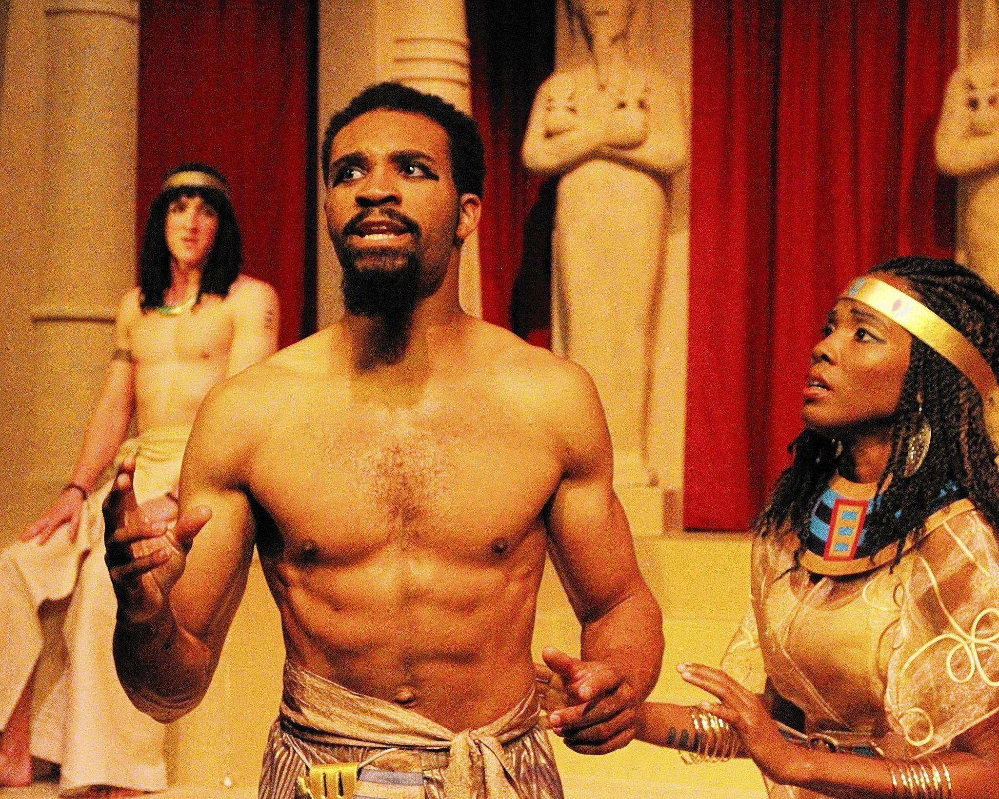 "Preston Butler III (Oedipus) and Kimberly Monks (Iocaste) from ""Oedipus Rex"" at Vanguard University."