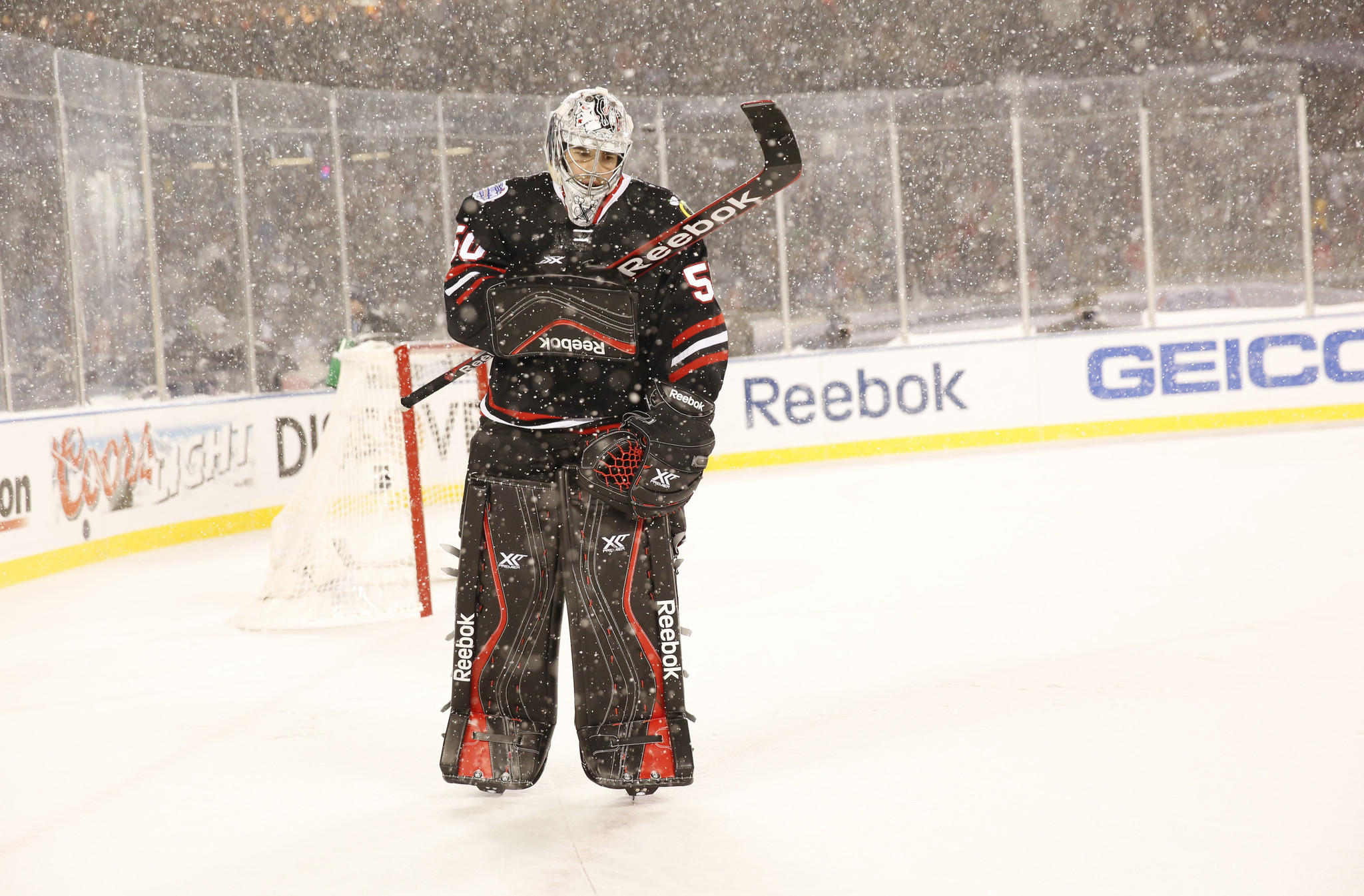 Blackhawks goalie Corey Crawford during the third period against the Penguins at Soldier Field.