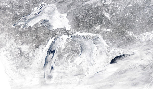 The Great Lakes were 90.5 percent ice-covered as of Sunday, the greatest percentage of ice cover since the record-setting year of 1979, according to the Great Lakes Environmental Research Laboratory.